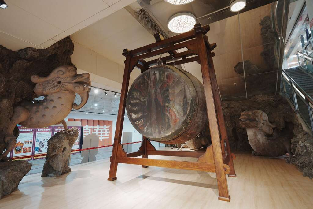 Century-old Buddhist Drum Showcased at Longshan Creative Base
